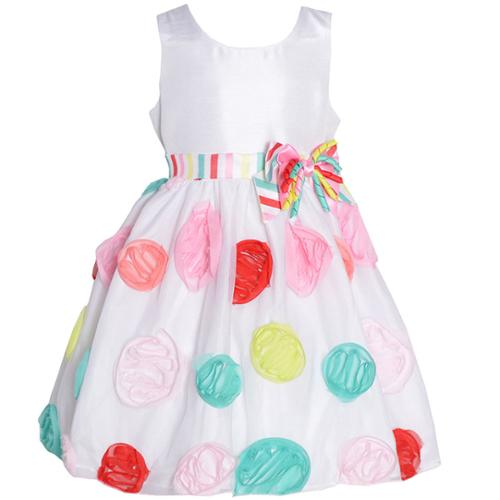 Baby Girls White Multi Color Dots Bow Accent Birthday Dress 12M