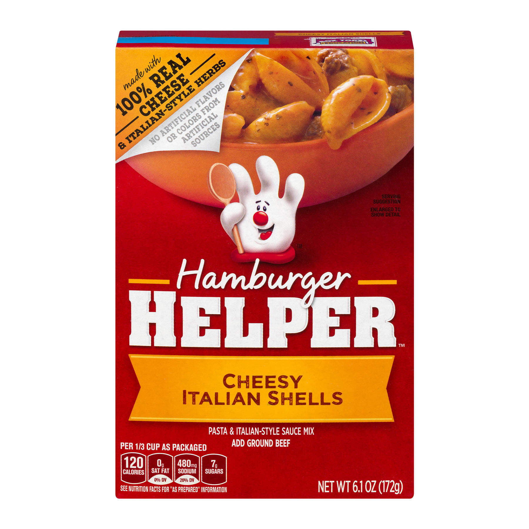 Betty Crocker Hamburger Helper, Cheesy Italian Shells Hamburger Helper, 6.1 Oz Box, 6.1 OZ