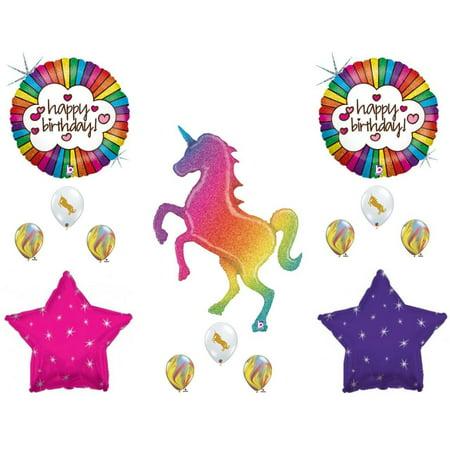 HUGE! Glittery Rainbow Unicorn Birthday Party Balloons Decoration Supplies Girl - Rainbow Unicorn Party Supplies