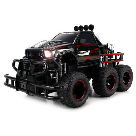 Electric RC Monster Truck Big 1:12 Scale RTR w/ Working Headlights, Dual Rear Wheels (Colors May Vary) (Electronic Spark Control)