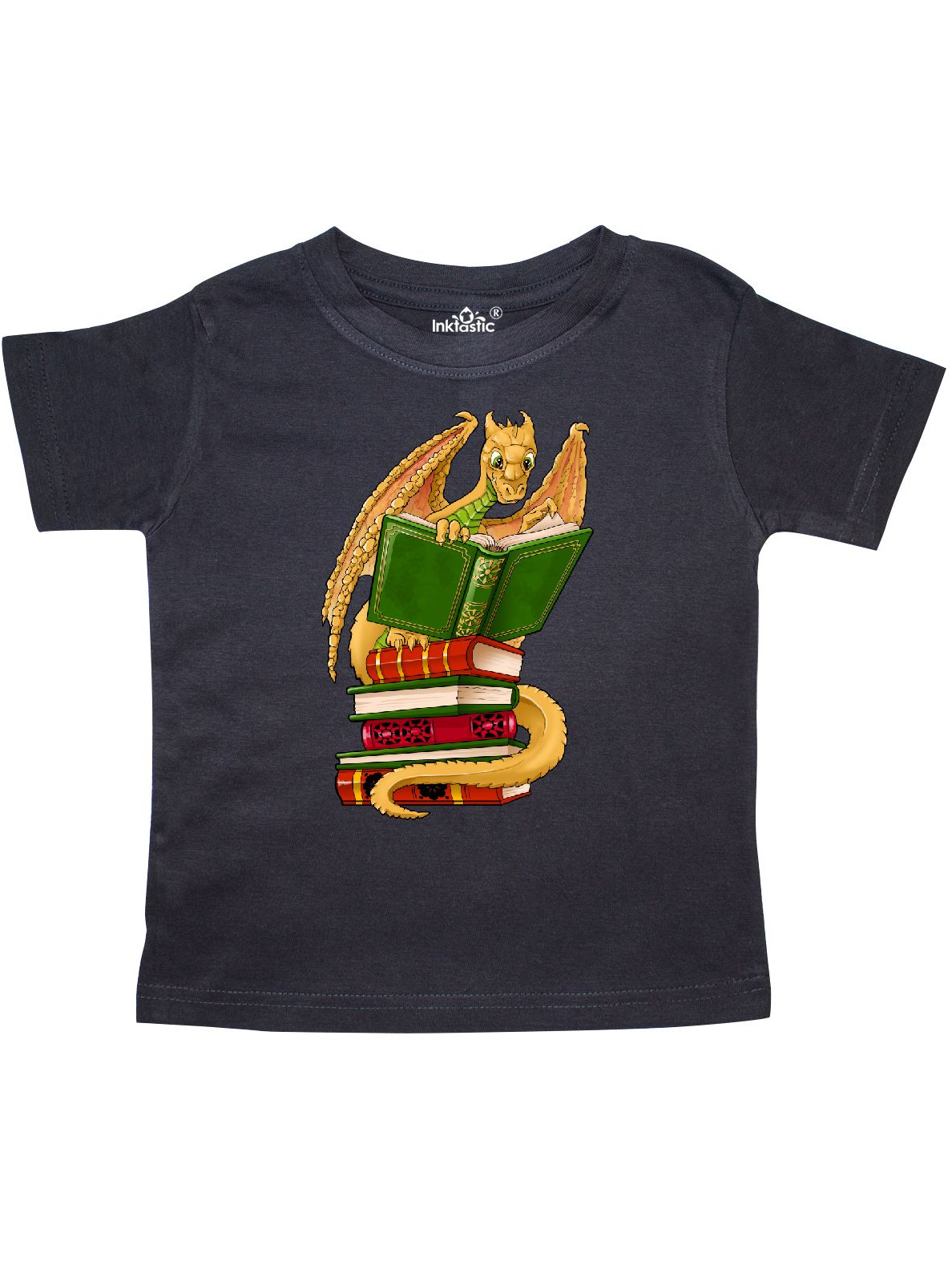 Well-Read Cute Gold Dragon Reading Books Toddler T-Shirt