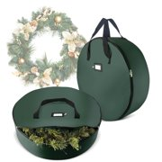"""2 Pack Christmas Wreath Storage Bag For 30"""" Artificial Wreaths with Durable Handles And Smooth Zipper Holiday Xmas Durable Material Storage Container - Green"""