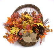 Orange Mixed Pumpkins Half Wall Basket Fall Harvest Halloween Decoration