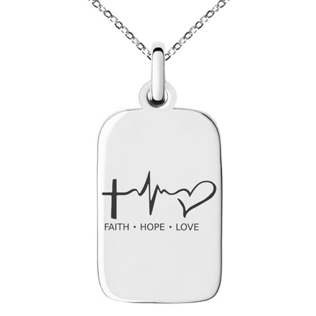 Stainless Steel Faith Hope Love Lifeline Engraved Small Rectangle Dog Tag Charm Pendant Necklace Faith Pendant Necklace