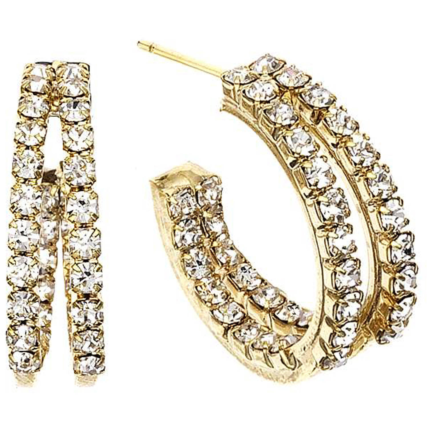 X & O Handset Austrian Crystal 20mm Gold-Plated Two-Row Inside-Out Earrings