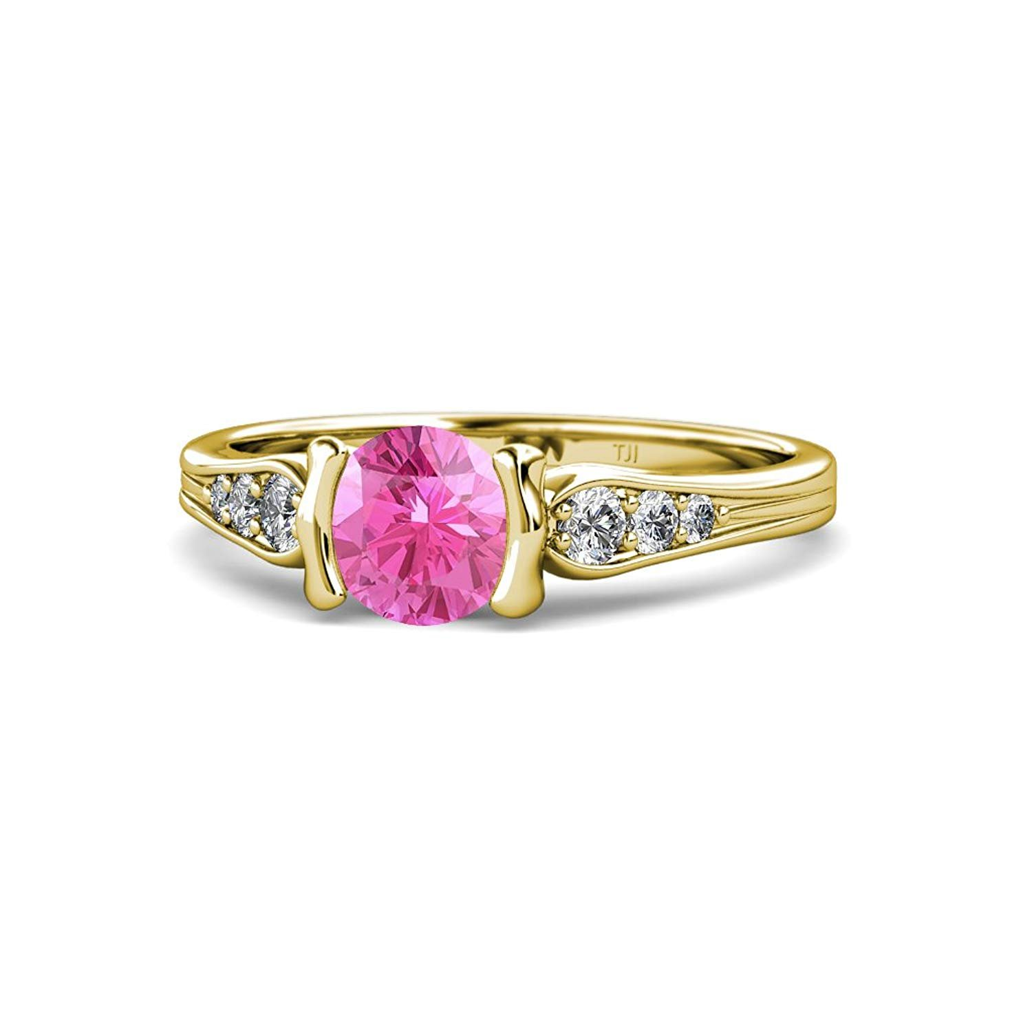 Pink Sapphire and Diamond (SI2-I1, G-H) Half Bezel Engagement Ring 1.26 ct tw in 14K Yellow Gold by TriJewels