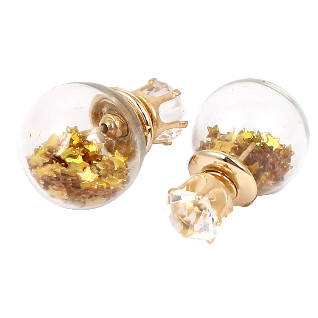 Faux Crystal Inlaid Round Bulb Design Double Side Stud Earrings Gold Tone Pair