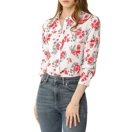 Allegra K Junior's Long Sleeve Button Up Vintage Casual Floral Shirt