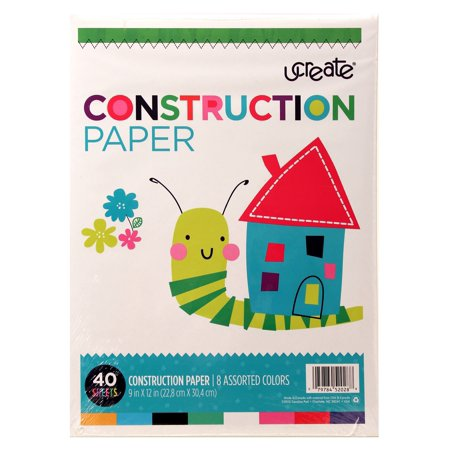 """Ucreate Construction Paper, 40 Sheets, 8 Assorted Colors, 9"""" x 12"""""""