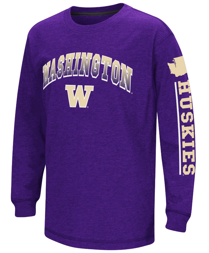 "Washington Huskies NCAA ""Grandstand"" Long Sleeve Dual Blend Youth T-Shirt by Colosseum"