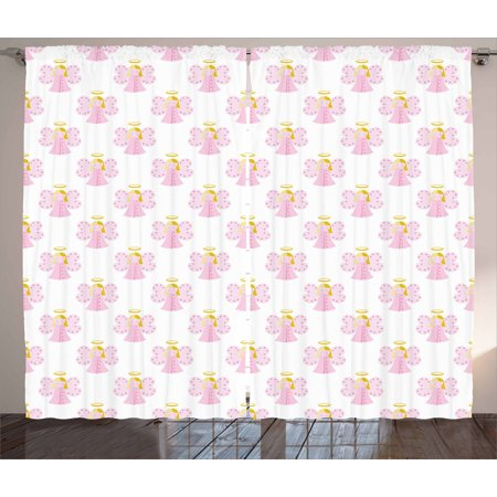 Angel Curtains 2 Panels Set, Cute Angels Spiritual Wing Girl with Halo Fairy Tale Surreal Kids Cartoon, Window Drapes for Living Room Bedroom, 108W X 96L Inches, Baby Pink Earth Yellow, by Ambesonne (Angel Wings And Halo Set)