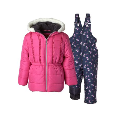 Fleece Girls Jacket (Floral Print Polar Fleece Lined Jacket and Snowbib, 2-Piece Set (Little)