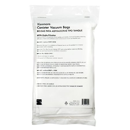 Kenmore 53292 6 Pack Type Q HEPA Vacuum Bags for Canister Vacuums
