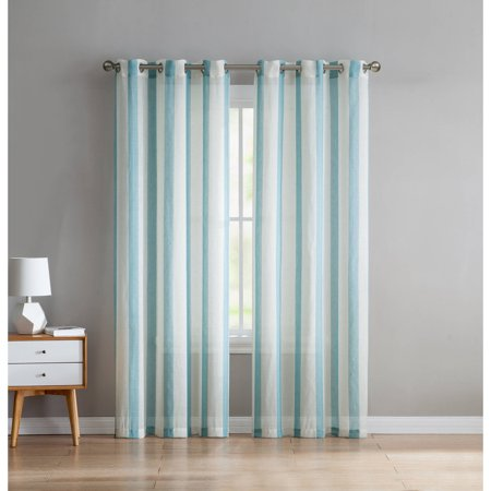 VCNY Home 2-Tone Windsor Stripe Semi-Opaque Linen Grommet-Top Window Curtain Panel, Set of 2, Multiple Colors and Sizes (Stripe Sage Green)