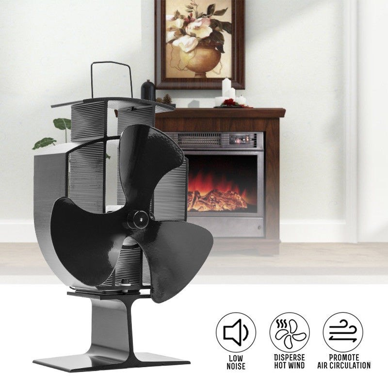 Heat Stove Fan for Wood Burners Multi Fuel Ovens Gauge 3-Blade Fireplace Powered