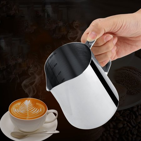 Ashata 600ml Stainless Steel Measuring Cup Mug Milk Frothing Pitcher Jug for Latte Coffee Art, Milk Frothing Cup, Stainless Steel Mug
