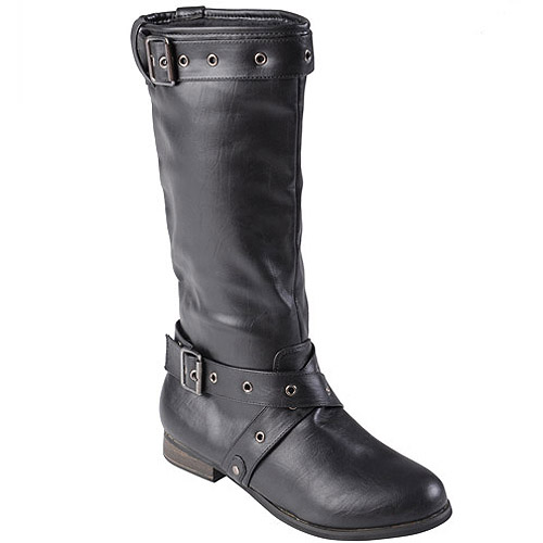Brinley Co. Women's Buckle Detail Round Toe Boots