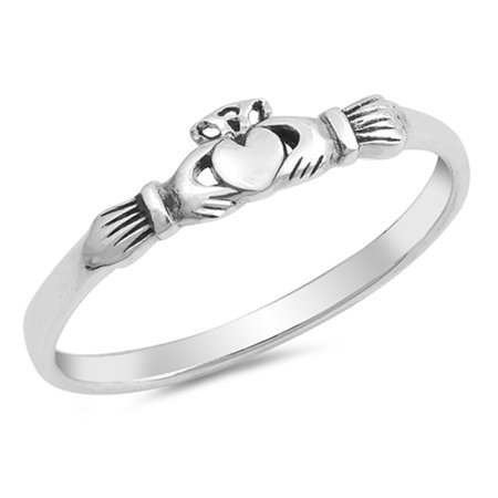 Claddagh Heart Friendship Promise Ring New .925 Sterling Silver Band Size 10