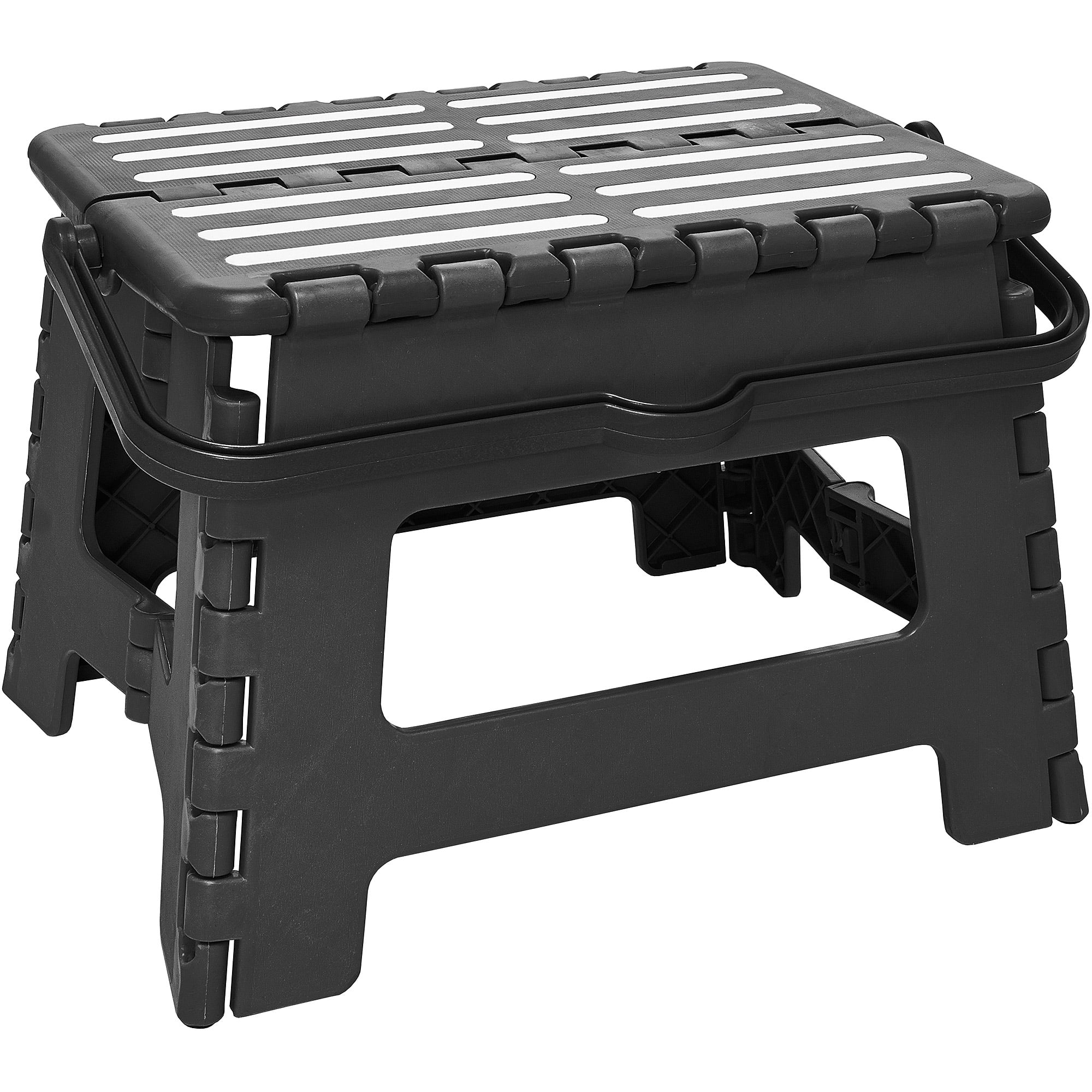 Simplify Striped Folding Step Stool with Handle. Product Variants Selector. Black  sc 1 st  Walmart : black plastic step stool - islam-shia.org