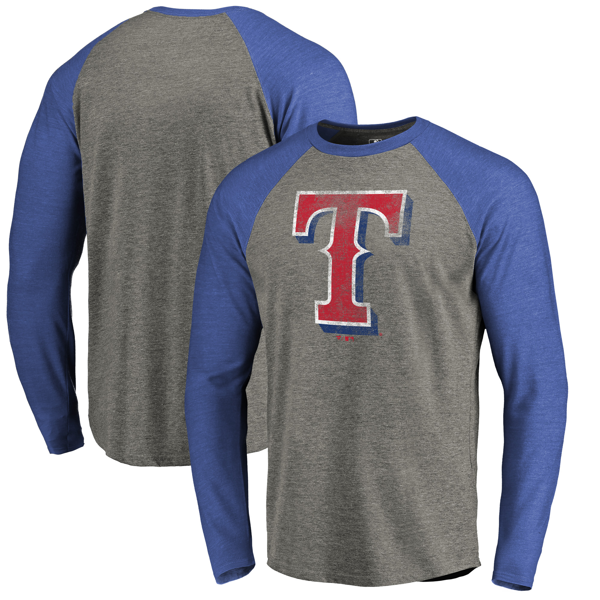 Texas Rangers Fanatics Branded Distressed Team Big & Tall Long Sleeve Tri-Blend Raglan T-Shirt - Gray/Royal