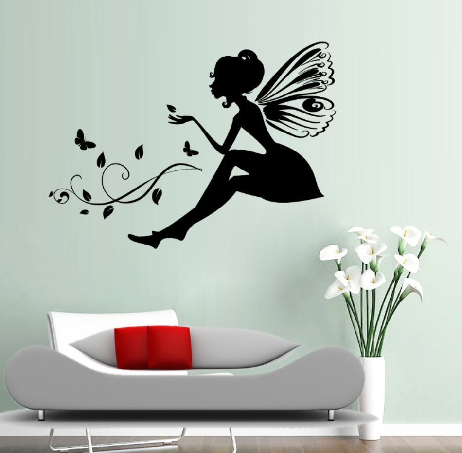 Beautiful Carved Flower Fairy Wall Stickers New Fashion Wall Decal Living Room Bedroom Decoration