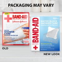 Band-Aid Brand First Aid Water Block Shower Care Bandage Protector, Medium, 4 ct