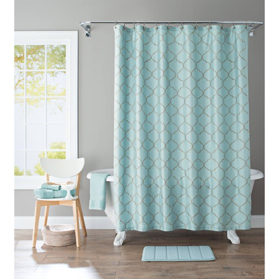 Better homes and gardens scalloped trellis embroidered fabric shower curtain for Better homes and gardens shower curtains