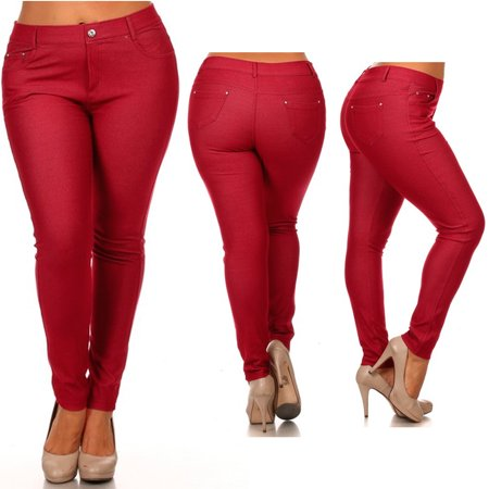 63b9e683a55 AllTopBargains - Womens Plus Size Jeans Look Skinny Slim Jeggings Stretch Pants  XL-3XL 14-28 New - Walmart.com