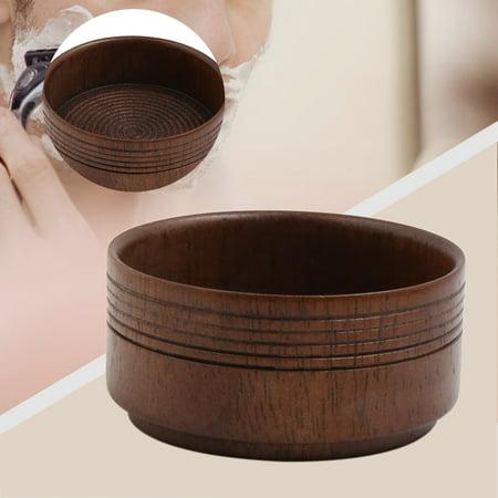 Male Brown Wooden Beard Shaving Soap Bowl Mug Container Holder Travel Shave Tool - image 3 de 3