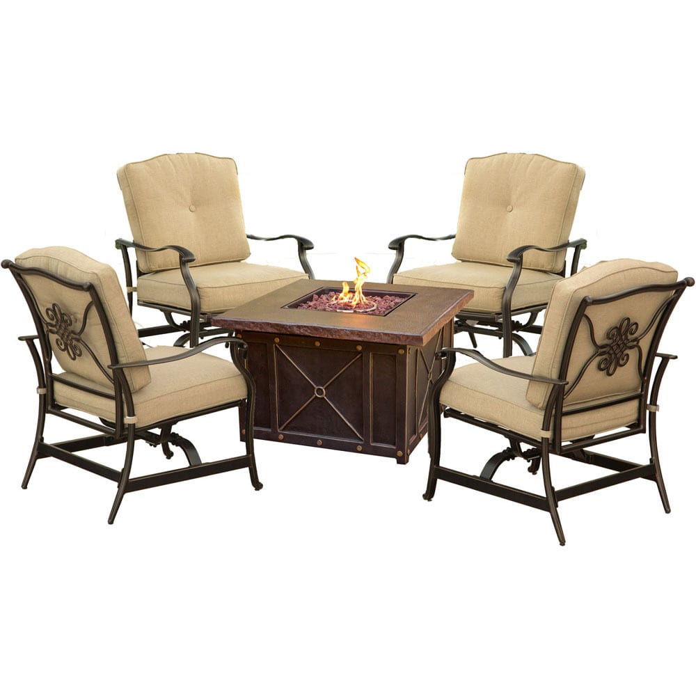 Cambridge Outdoor Bradford 5-Piece Conversation Set with Durastone Fire Pit Table
