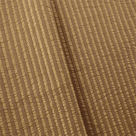 Walnut Brown/Beige Seersucker Stripe Drapery Fabric, Fabric By the Yard