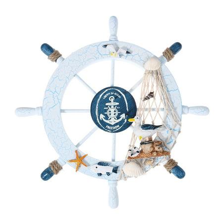Nautical Beach Wooden Boat Ship Steering Wheel Fishing Net Shell Home Wall Decor -