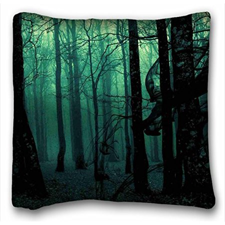 WinHome Nature Trees Dark Ghost Gothic Wood Trees Fantasy Evil Horror Zippered Body Throw Pillow Case Cases Cover Cushion Covers Suitable Full Bed Pc Green Sofa Size 18x18 Inches