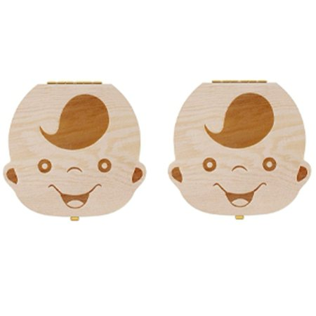 - WALFRONT 2Pcs Baby Teeth Box Wooden Kids Tooth Holder Children Teeth Storage Box Teeth Collection Keepsake Organizer Gift to Keep the Childwood Memory (Boys)