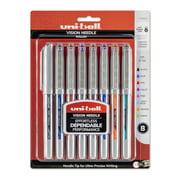 Uni-ball Vision Needle Rollerball Pens, Fine Point (0.7 mm), Assorted Colors, 8 Count