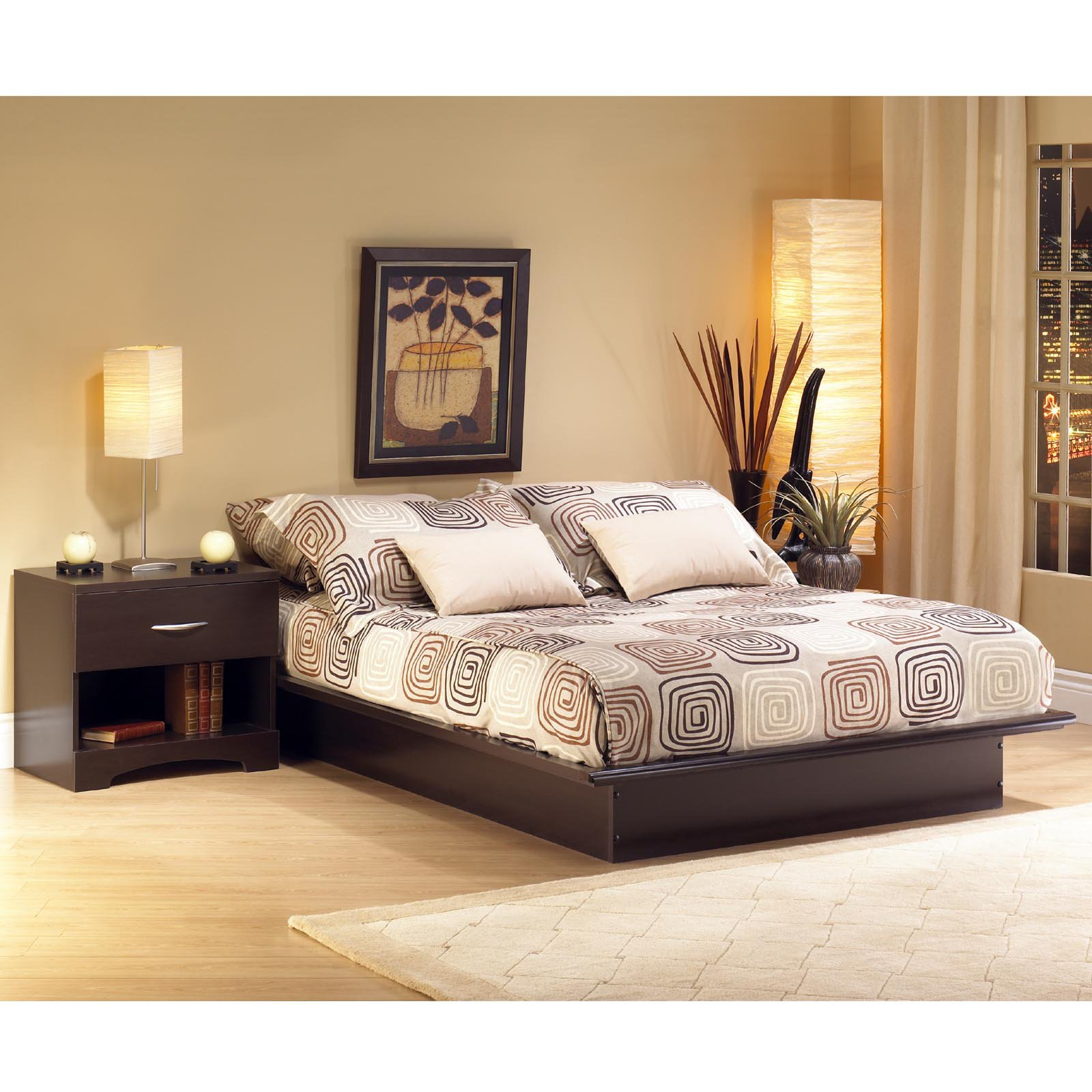 South Shore Step One Queen Platform Bed (60''), Chocolate