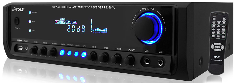 Pyle Home PT390AU 300-Watt Digital Home Stereo Receiver System with USB SD Card Reader by Pyle
