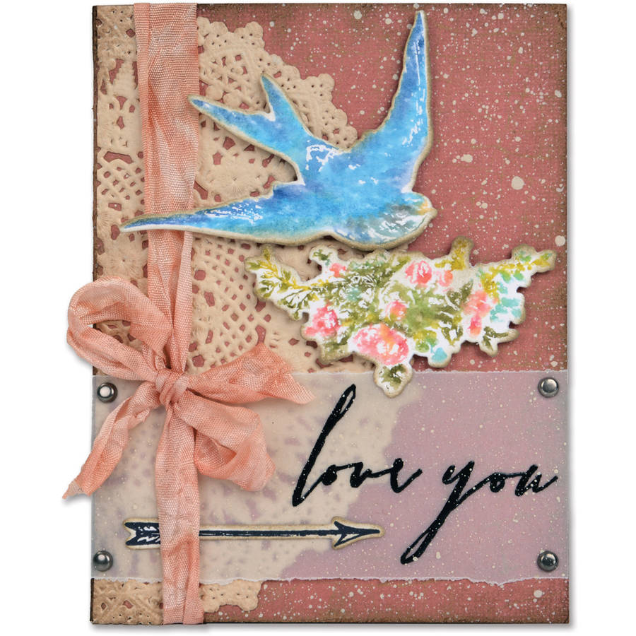 Sizzix Framelits Dies, 4pk with Stamps By Tim Holtz, Love You