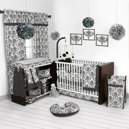 Classic Damask Black/White Crib Bedding Collection