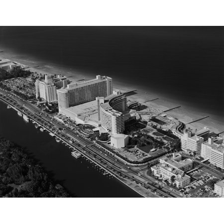 1950s-1960s Aerial View Fontainebleau Hotel Miami Beach Florida Usa Rolled Canvas Art - Vintage Images () - Miami Beach Florida Framed Art