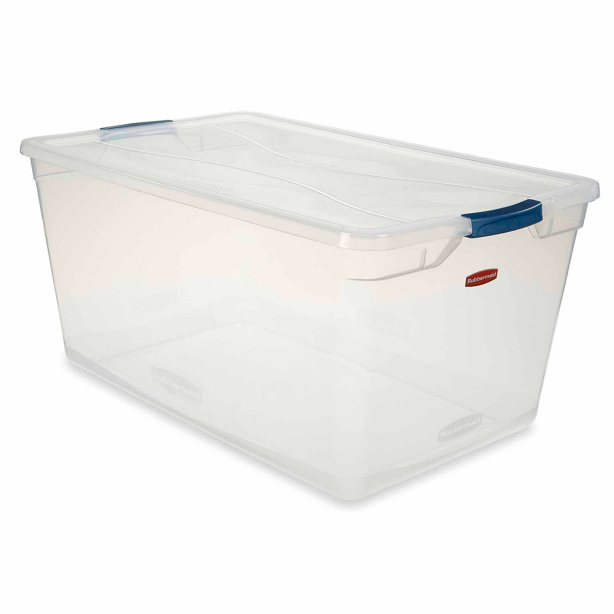 Rubbermaid Clever Store Clears Standard Latch Storage Container, 95 Qt,  Clear