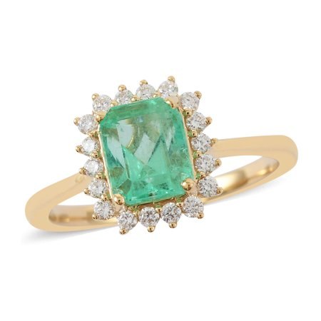 ILIANA 18K Yellow Gold AAA Premium Emerald Diamond G-H Color Si1 Clarity Halo Ring Jewelry for Women Gift Size 7 Ct 1.4