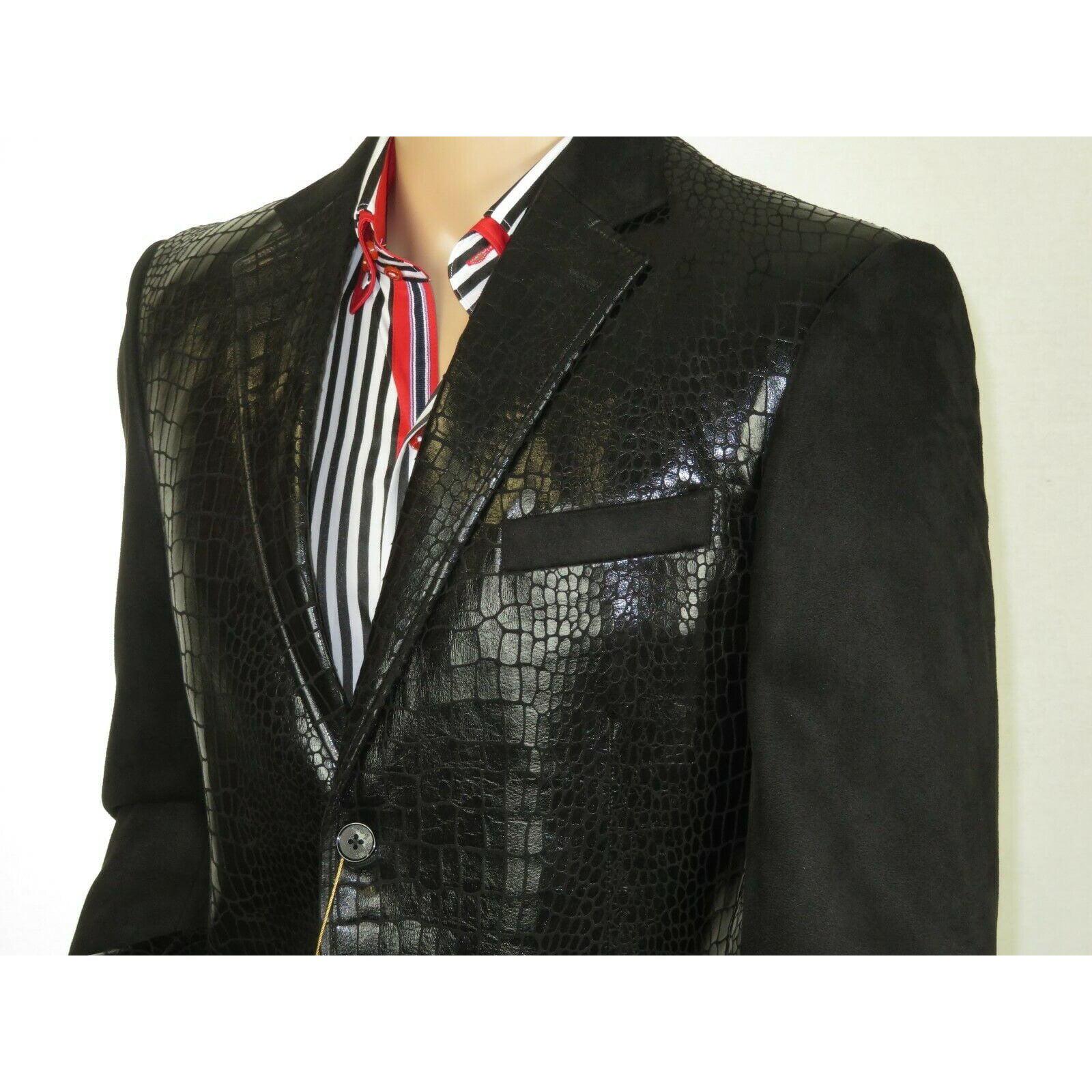Mens Sports Coat INSERCH Micro Suede Crocodile print Faux Leather 565 Black New