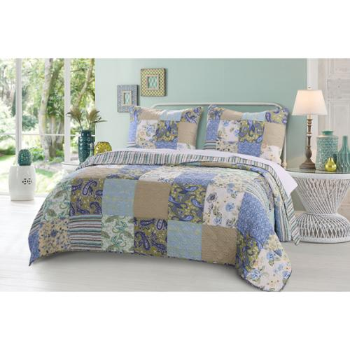 Greenland Home Fashions Heirloom Jade Authentic Patchwork Reversible Quilt Set Full/Queen