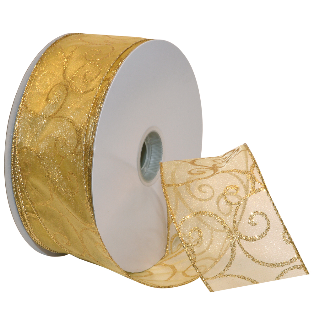Morex Ribbon, Swirl Wired Sheer Glitter Ribbon, 2-1/2 in x 50 yd, Gold