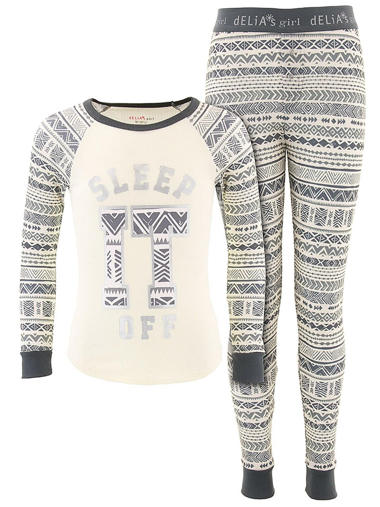 Delia*s Girls Sleep It Off Gray Thermal Pajamas