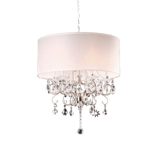 "OK Lighting Crystal Chandelier, 21"", Silver"
