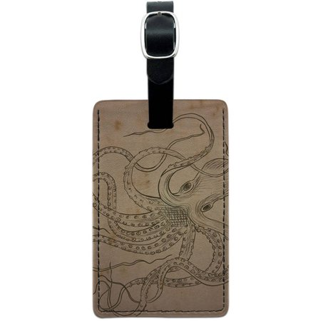 Vintage Ink Drawn Octopus Sea Monster Tattoo Leather Luggage ID Tag Suitcase - Sea Tattoo