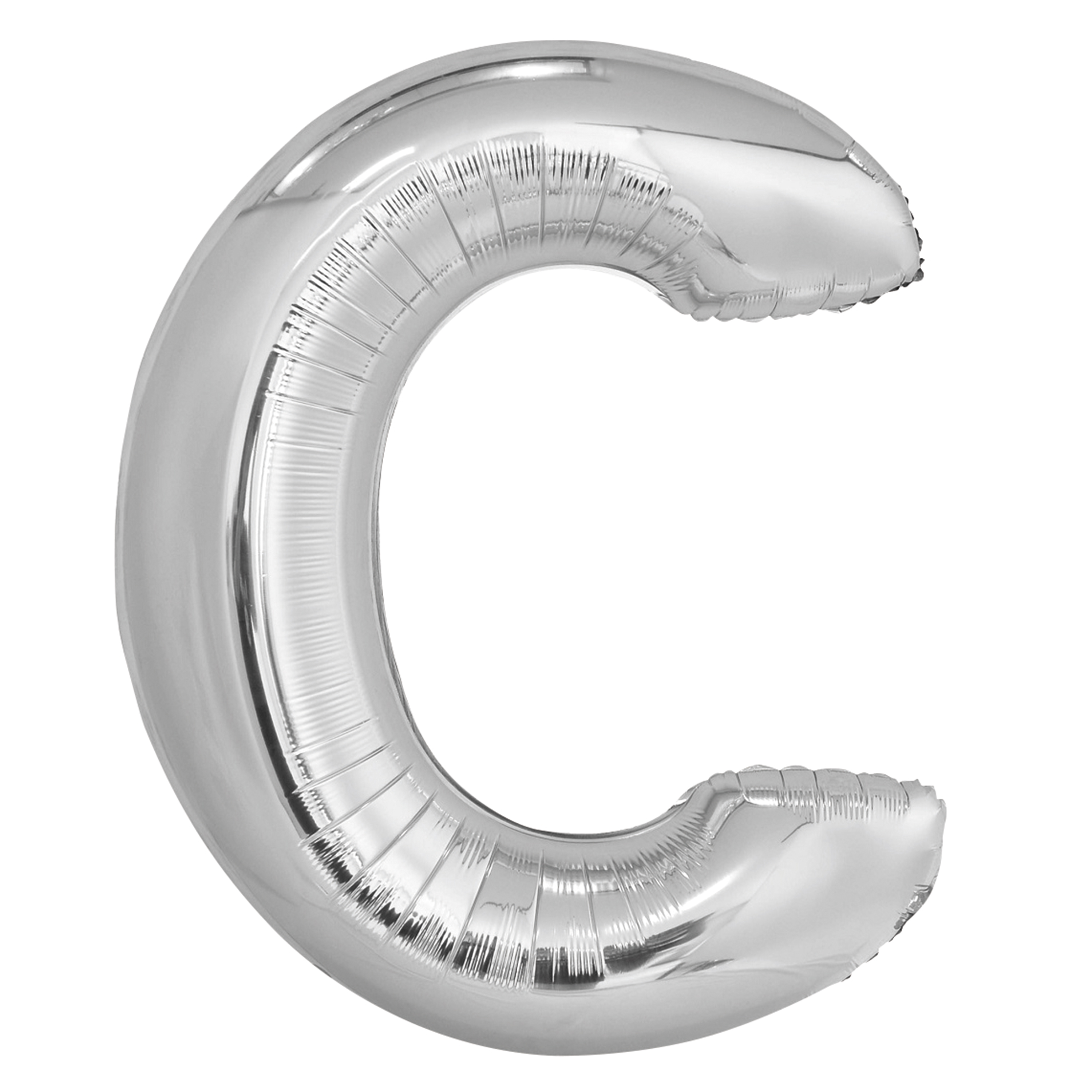 Foil Big Letter Balloon, C, 34 in, Silver, 1ct