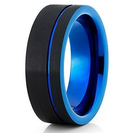 Black & Blue Tungsten Wedding Band 8mm Tungsten Ring Tungsten